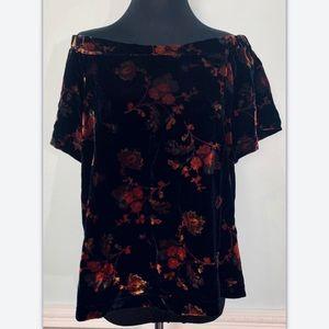 Ann Taylor Loft Medium Floral Velvet Off Shoulder